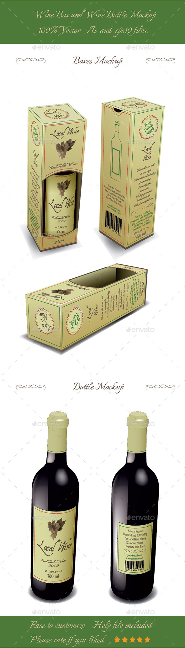 GraphicRiver Wine Box And Wine Bottle Mockup 9192510