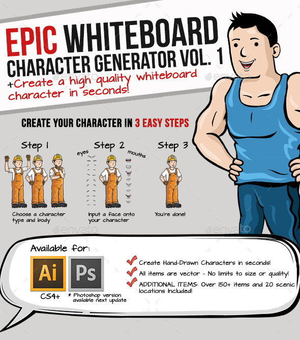 GraphicRiver Whiteboard Character Generator 9160047