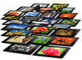 black tablets with motley pictures isolated - PhotoDune Item for Sale
