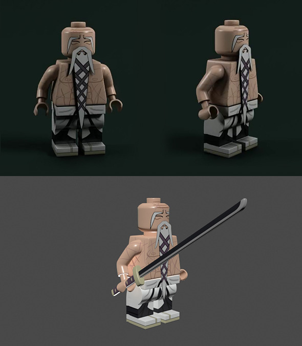 Lego Bleach - Yamamoto Shigekuni Genruysai and Ryu - 3DOcean Item for Sale