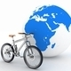 Bike and the globe. The concept of tourism on environmental transport - PhotoDune Item for Sale