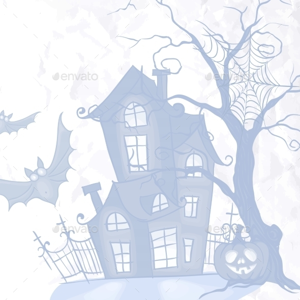 Halloween Monster House With Bat And Pumpkins