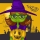 Cartoon Witch Girl With Pumpkins - GraphicRiver Item for Sale