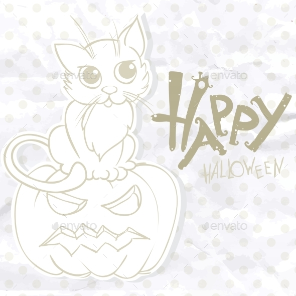 GraphicRiver Halloween Background With Pumpkins And Cat 9213465