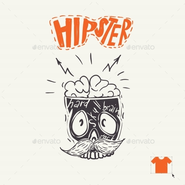 GraphicRiver Hipster Skull Background 9213478