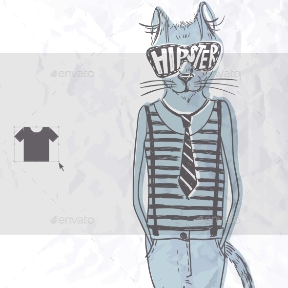 GraphicRiver Hand Drawn Fashion Portrait Of Hipster Cat 9213483