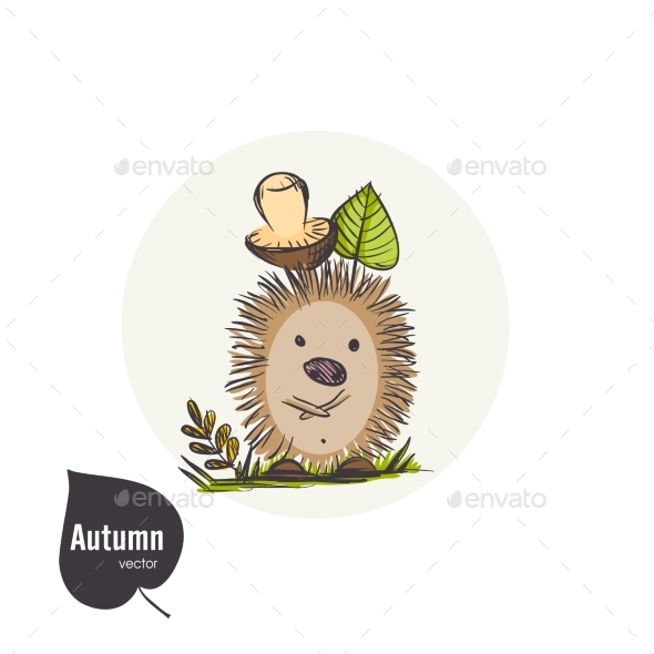 GraphicRiver Cartoon Hedgehog With Mushroom 9213539