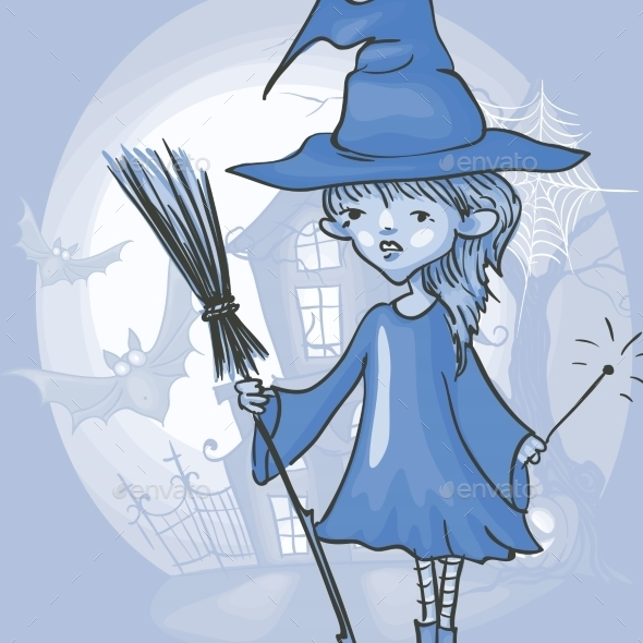 GraphicRiver Witch Girl With Bat And Broom 9213546