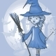 Witch Girl With Bat And Broom - GraphicRiver Item for Sale