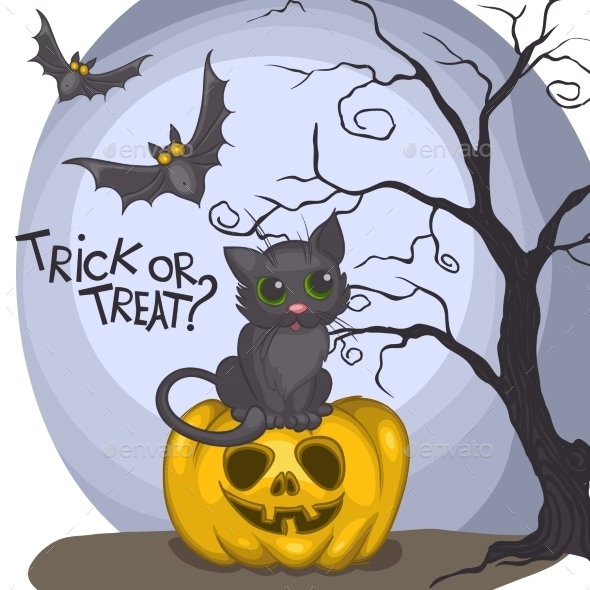 GraphicRiver Halloween Background With Pumpkins Moon And Cat 9213549