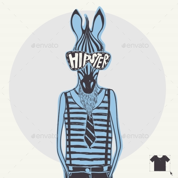 GraphicRiver Hand Drawn Fashion Portrait Of Hipster Zebra 9213557