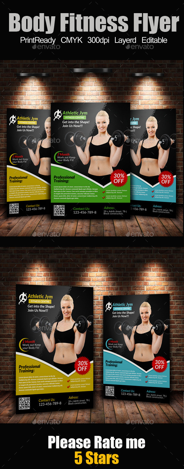 GraphicRiver A4 Body Fitness Flyer 9177581
