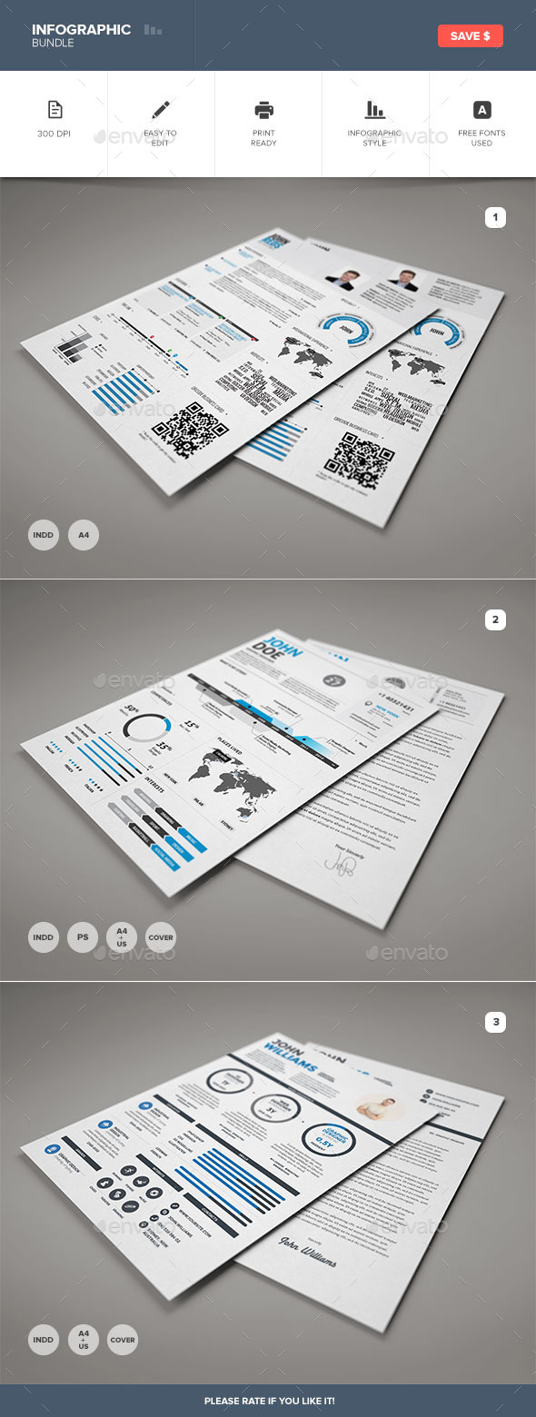 GraphicRiver Infographic Resume Bundle 9186713