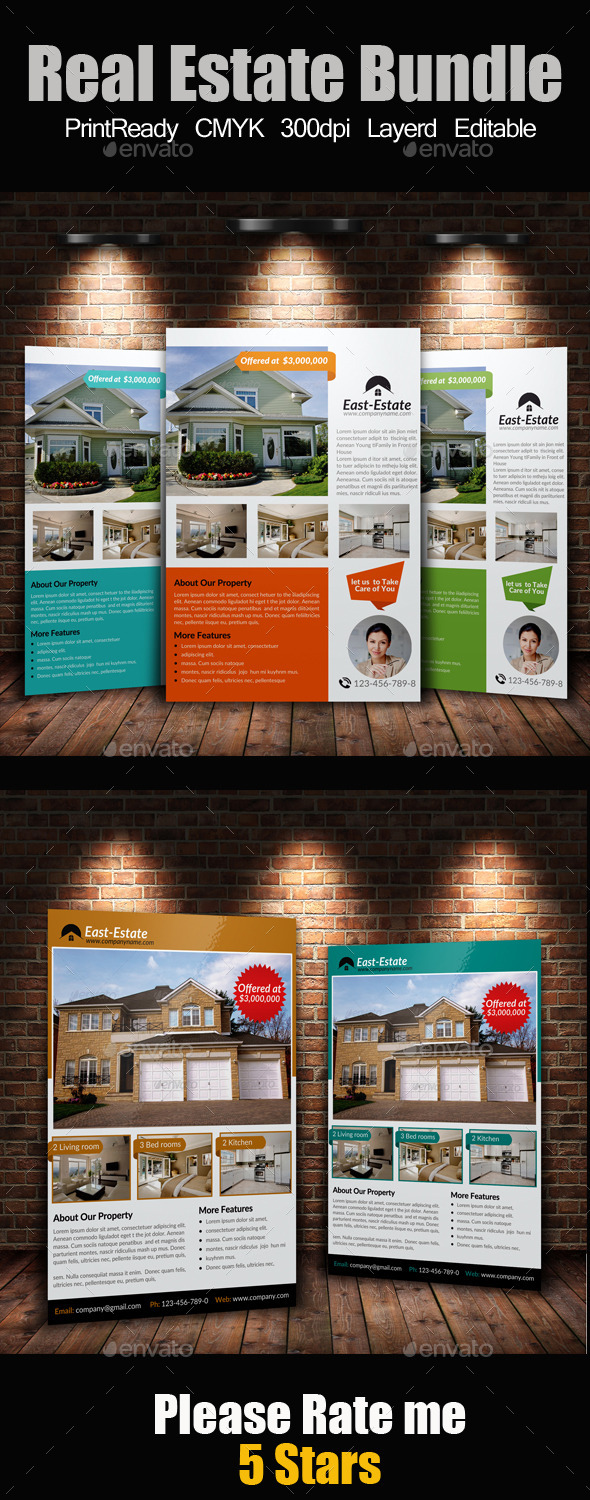 GraphicRiver A4 Real Estate Flyers Bundle 9214075