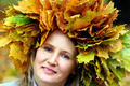 woman with yellow autumn leaves on the head - PhotoDune Item for Sale