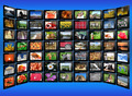 many tablets with motley pictures on the blue background - PhotoDune Item for Sale