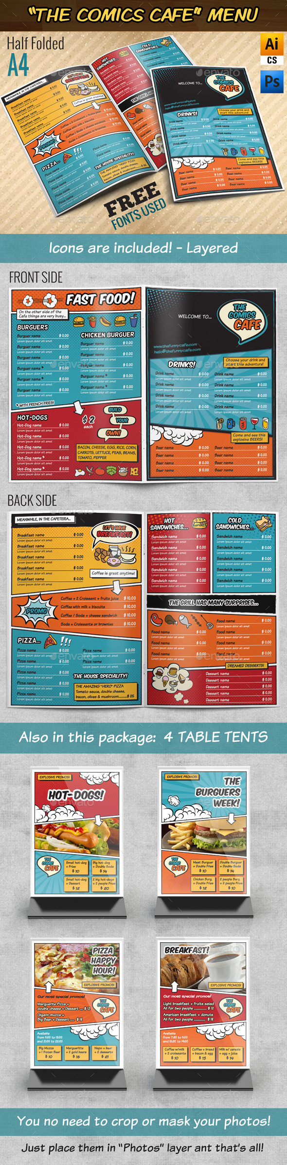 GraphicRiver The Comics Cafe Menu A4 Half folded 9214419