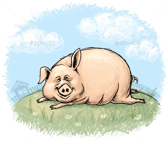 GraphicRiver Pig with Landscape 9215132
