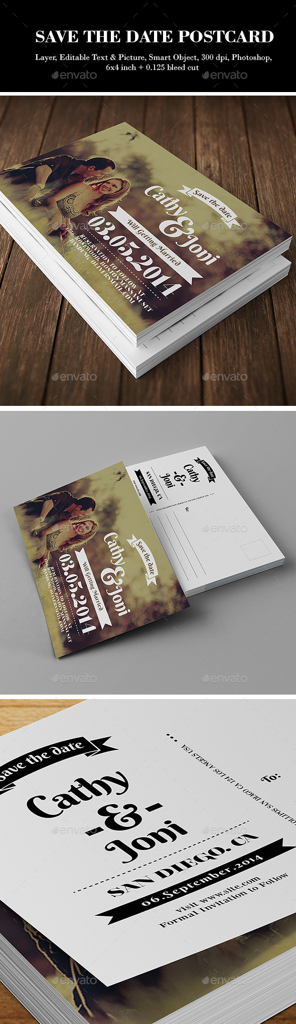 GraphicRiver Save the Date Post card 9189538