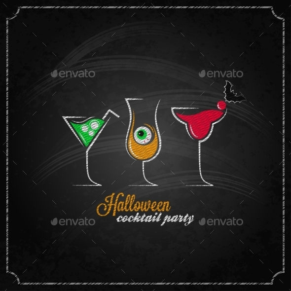 GraphicRiver Halloween Party Cocktails Background 9215731