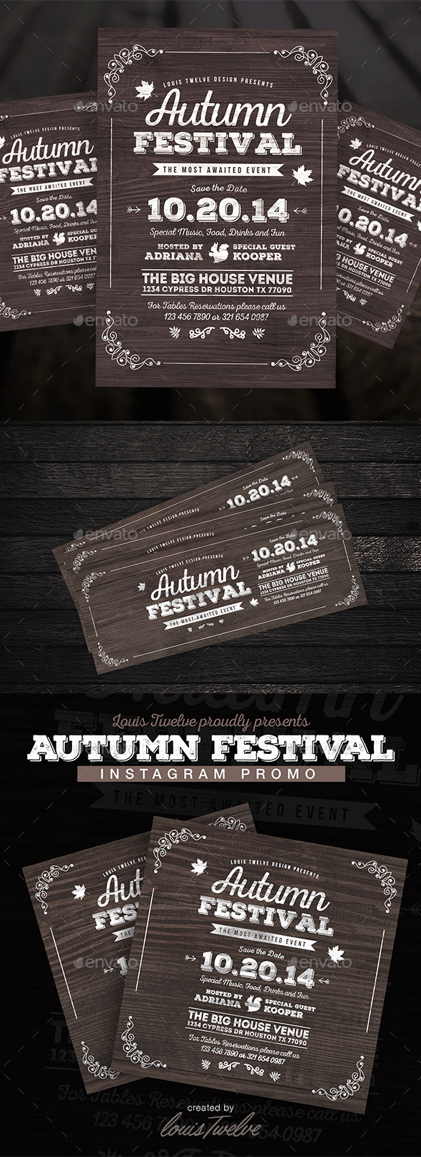 GraphicRiver Vintage Autumn Festival Flyer 3PSD 9215771