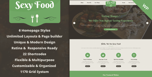 ThemeForest Sexy Food Food & Restaurant WordPress Theme 9169216