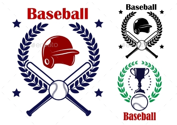 GraphicRiver Three Baseball Emblems or Badges 9216036