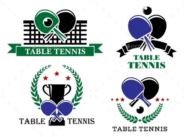 GraphicRiver Four Table Tennis Emblems or Badges 9216149