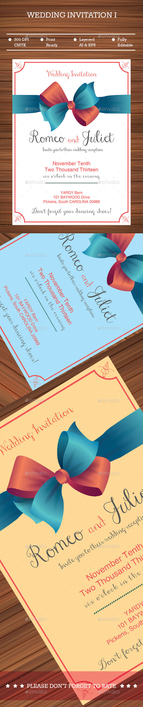 GraphicRiver Ribbon Wedding Invitation 9216362