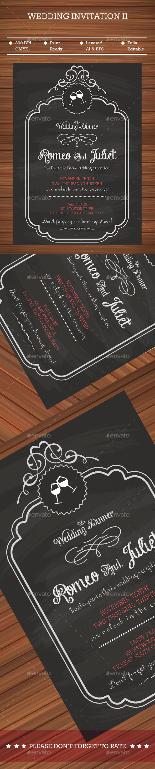 GraphicRiver Black Wedding Invitation 9216667