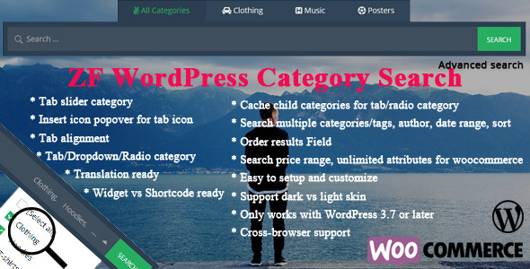 It is an advancement of the WordPress advanced search box, support WordPress category search, WooCommerce category search. These easily to really refine your se
