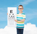 smiling boy in eyeglasses with white blank board - PhotoDune Item for Sale
