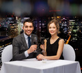 young couple with glasses of wine at restaurant - PhotoDune Item for Sale