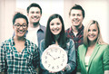 group of students at school with clock - PhotoDune Item for Sale