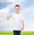 smiling little boy in white blank t-shirt - PhotoDune Item for Sale