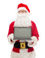 man in costume of santa claus with laptop - PhotoDune Item for Sale