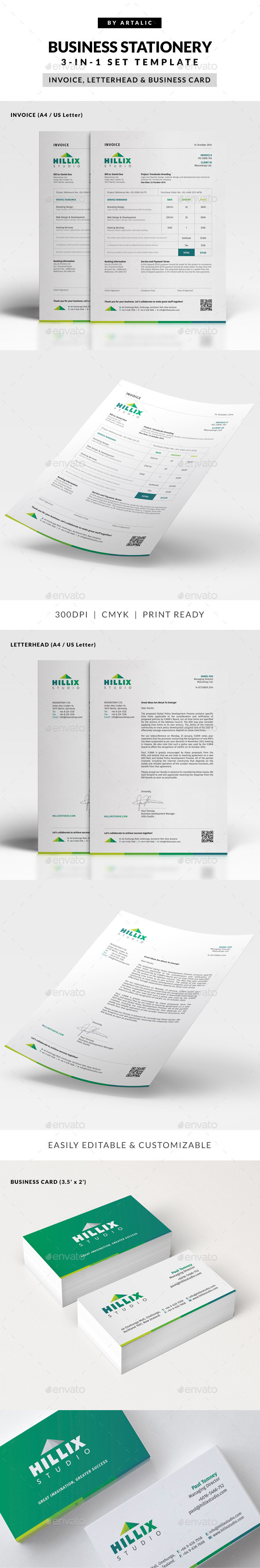 GraphicRiver Invoice Letterhead & Business Card Set 9216821