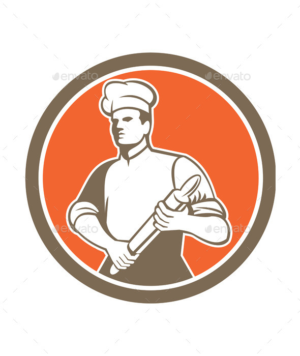 Chef with Rolling Pin Circle