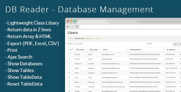 CodeCanyon DB Reader Database Management 9201107