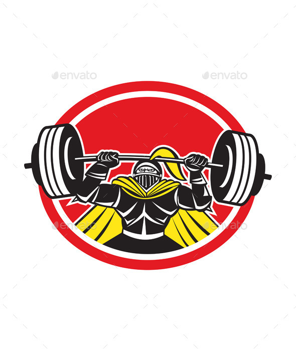 GraphicRiver Black Knight Lifting Barbell Front Circle 9217664