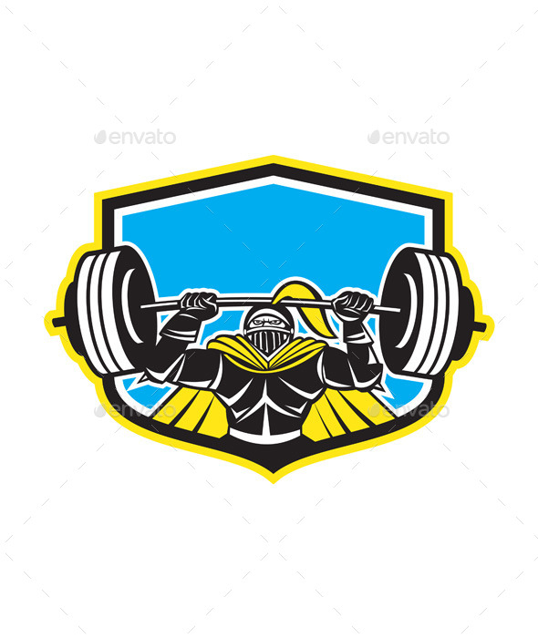 GraphicRiver Black Knight Lifting Barbell Front Shield 9217667