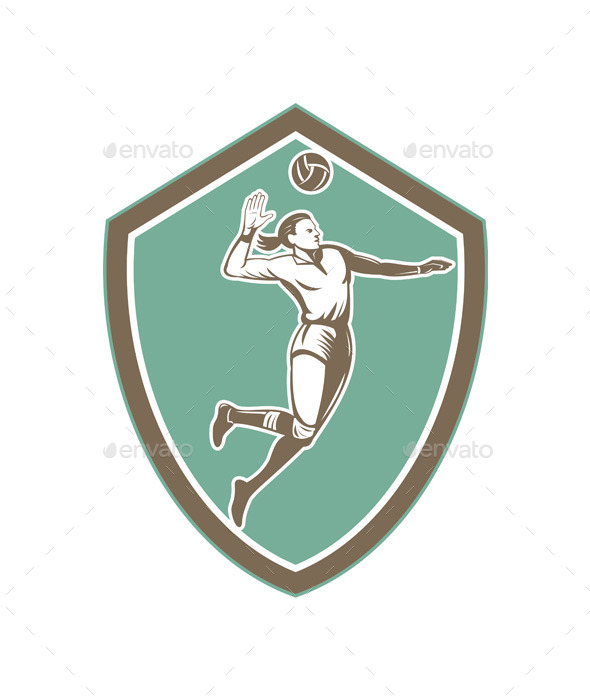 GraphicRiver Volleyball Player Spiking Ball Shield 9217685