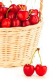 Red cherries in a basket - PhotoDune Item for Sale