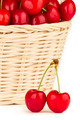Close up to a red cherries in a basket - PhotoDune Item for Sale