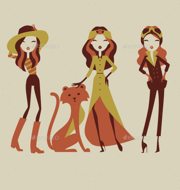 GraphicRiver Fashion Girls on Safari Vacation 9218368