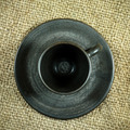 Black coffee cup on a hemp sack texture. - PhotoDune Item for Sale