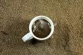 coffee cup on a hemp sack. - PhotoDune Item for Sale