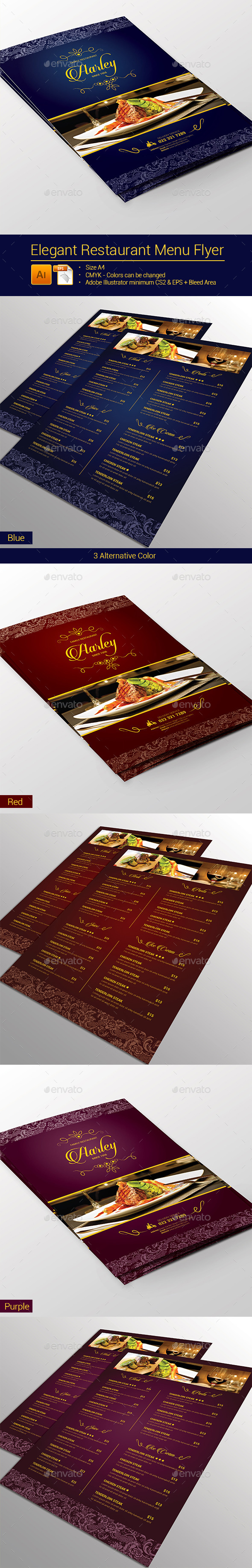 GraphicRiver Elegant Restaurant Menu Flyer 9219720