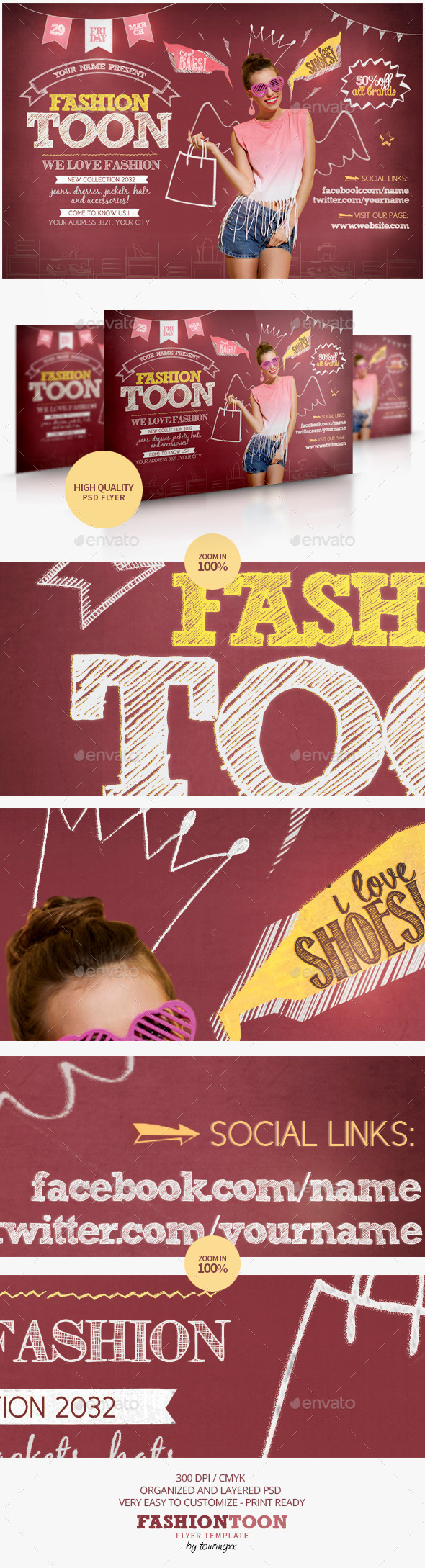 GraphicRiver Fashion Toon Flyer Template 9219820