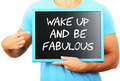 Man holding blackboard in hands and pointing the word WAKE UP AN - PhotoDune Item for Sale